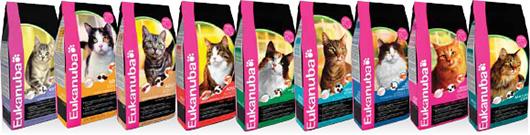 линейка кормов для кошек Eukanuba